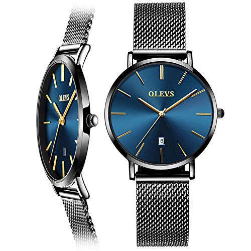 Woman Watch Mesh Black Stainless Steel,Female Watches with Date, Ultra Thin Watches for Women,Fashion Ladies Watch on Sale,Simple Quartz Ladies Watch Waterproof,Casual Lady Watches Analog Blue - Casual Watch Ladies