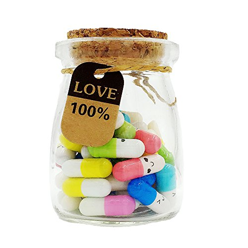 Running Ant Message In a Bottle Capsule Letter 50 Pcs Cute Smiling Face Love Friendship Half Color Pill (Best Birthday Surprise For Boyfriend Long Distance)