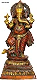 Three Eye Store 2.1Ft Standing Ganesha Statue - Brass Handpainted Ganesh Idols Elephant God's Foot at Mouse Sculpture Wedding Gifts