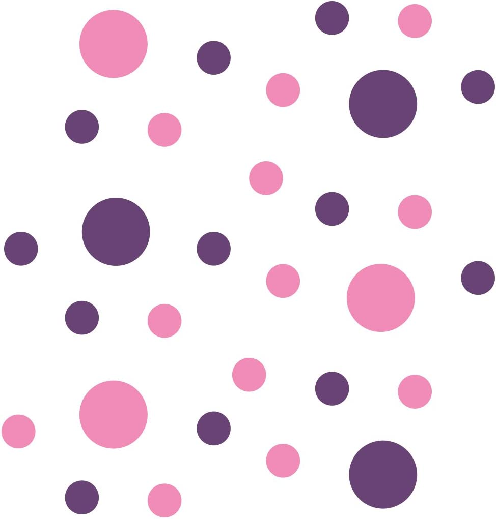 Pink/Purple Vinyl Wall Stickers - 2 & 4 inch Circles (30 Decals)