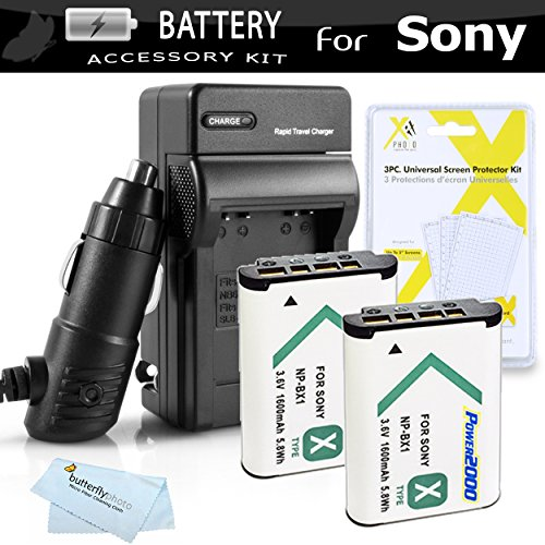 2pk Replacement NP-BX1 Battery And Charger Kit For Sony DSC-RX100M III, DSC-RX1, DSC-RX100 V, DSC-HX300, DSC-HX50V/B, HDR-CX240, HDR-PJ275, HDR-AS30V, HDR-CX440,...
