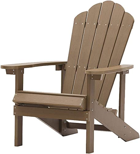 Aok Garden Adirondack Chairs Weather Resistant Outdoor Plywood Fire Pit Chair Furniture for Patio Deck Beach Lawn, Brown
