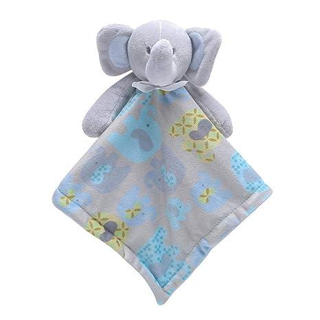 Manta de seguridad para bebé, suave toalla de toalla de atención con animales de peluche