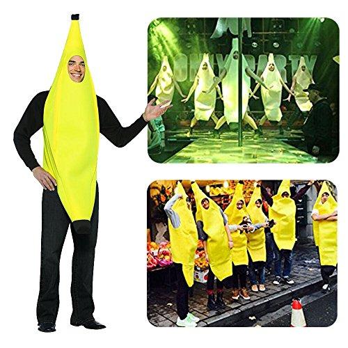 [DiDaDi Banana Costume Deluxe Adult Banana Suit Funny Halloween Adult Costumes] (Banana Deluxe Adult Costumes)