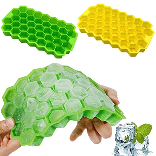 Livoty Honeycomb Shape Ice Cube 37 Cubes Ice Tray Ice Cube Mold Storage Containers Home Summer (Yellow) -
