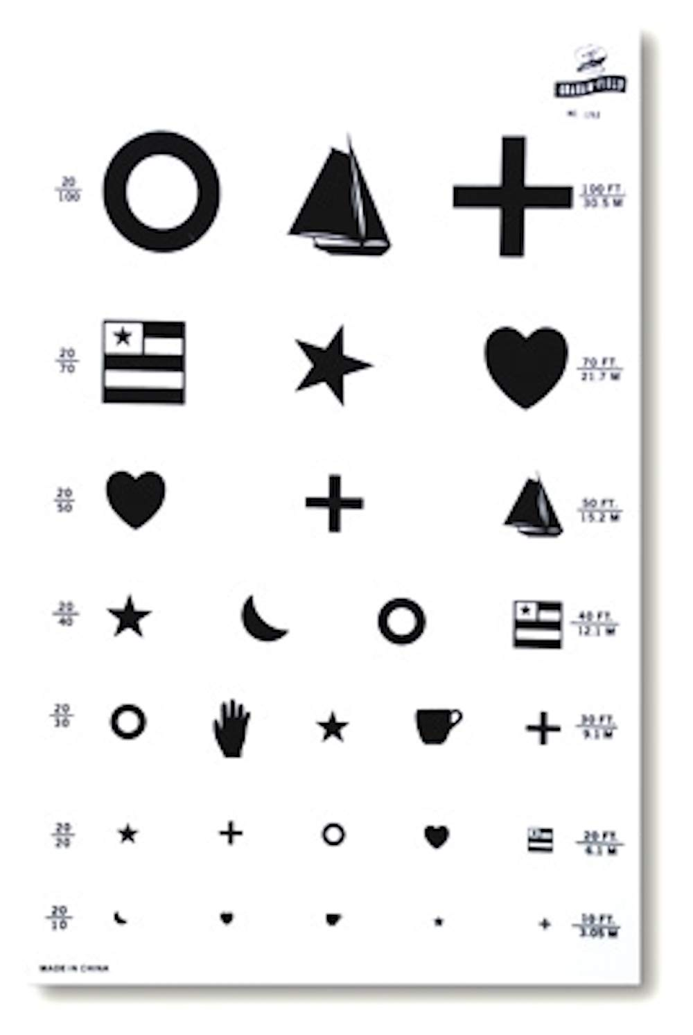 Pivit Illuminated Kindergarten Vision Test Chart | 14'' Height x 9'' Width | 20 Foot Distance Easy to Distinguish Objects | Medical Eye Exam Wall Charts for Testing Pediatric & Illiterate Visual Acuity