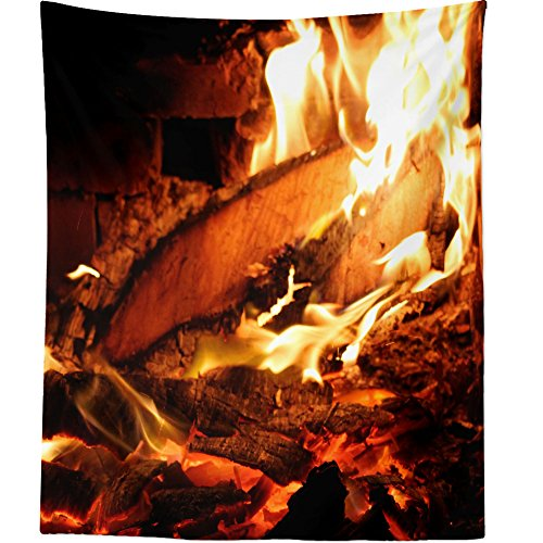 Westlake Art - Fire Fireplace - Wall Hanging Tapestry - Picture Photography Artwork Home Decor Living Room - 68x80 Inch (5049D) by Westlake Art