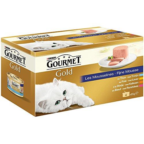 Gourmet Gold Les Mousselines Repas pour chat adulte Viandes 4 x 85 g - Lot de 24 (96 sachets fraîcheurs)