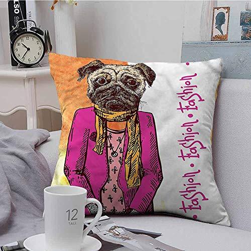 Fbdace Square Lumbar Cushion Cover Pug Fashion Icon Scarf Jacket Velvet Soft Soild Decorative 18 X 18 Inch