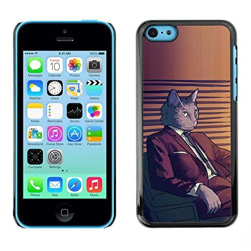 GooooStore/Housse Etui Cas Coque - Cat Suit Art Cartoon Character Grey Feline - Apple iPhone 5C