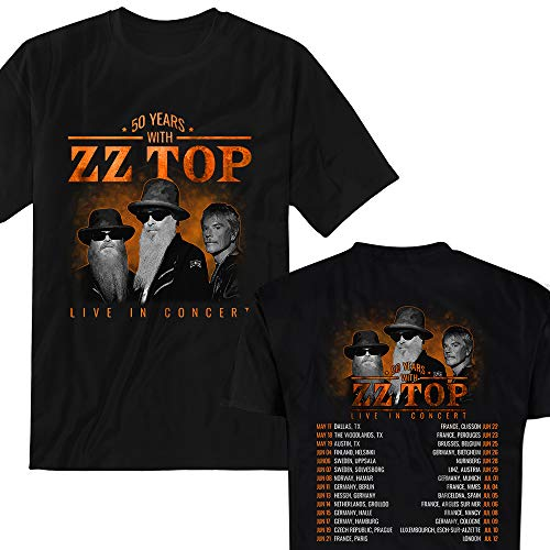 (50 Years with ZZ-Top Concert 2019 T-Shirt Black)