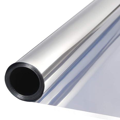 TTMOW Vinilo Pet Película Adhesiva Lámina de Espejo para Ventanas Cristal Unidireccional Protector de Privacidad Anti 99% UV y Anti 85% IR para Hogar ...