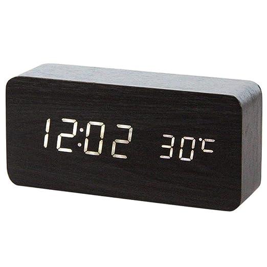 Reloj despertador de madera LED reloj de mesa control de voz reloj ...