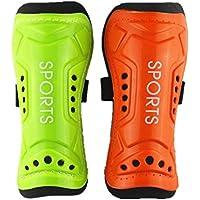 Skera E3341410 Football Shin Guard, Pack of 2 (Orange/Green)