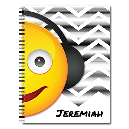 Music Mania Personalized Popular Emoji Spiral Notebook / Journal, 120 Wide Ruled or Sketch Pages, durable laminated cover, and wire-o spiral. 8.5x11 | 5.5x8.5 | Made in the USA - Wide Music