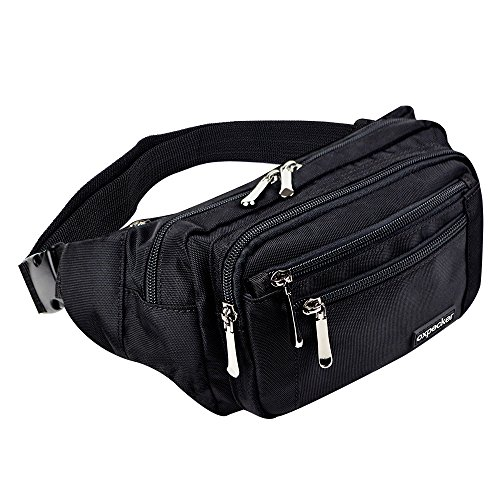 oxpecker Waist Pack Bag with Rain Cover, Waterproof Fanny Pack for Men&Women, Workout Traveling Casual Running Hiking Cycling, Hip Bum Bag (Black)