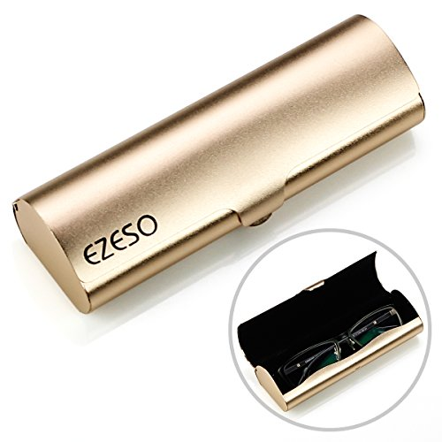 Aluminum Eyeglasses Case,EZESO Hard Shell Matte Elegant Frosted Slim Light Metal Spectacles Box For Small Frames (Golden)