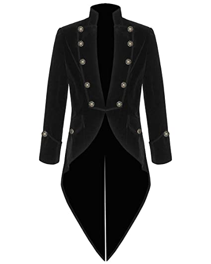 100% Velvet Mens Steampunk Vintage Tailcoat Gothic Swallowtail Jacket (Xmas  Present)  Amazon.co.uk  Clothing ca259697ac3