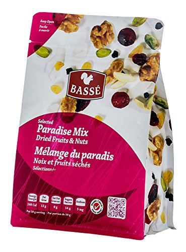 7oz Paradise Trail Mix from Basse Nuts, Selected Paradise Mix of Dried Fruits, Craisins and Nuts, 7oz Bag with Dried Cranberries, Dried Cherries, Coconut, Golden Raisins, Roasted Almonds, and Walnuts
