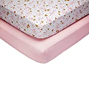 Little Love by NoJo She's So Lovely Heart 2 Piece Fitted Crib Sheets, Pink/Metallic Gold