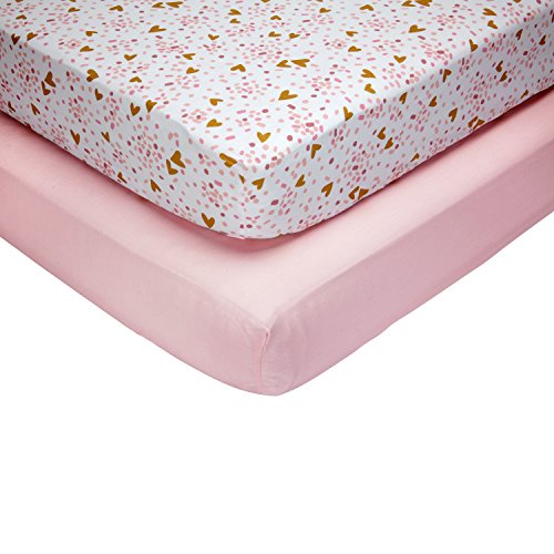 (Little Love by NoJo She's So Lovely Heart - 2 Count Crib Sheet Set - Pink/Metallic Gold)
