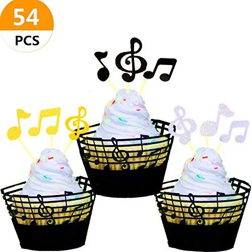 "Price comparison product image (Set of 54) Sakolla Music Notes Cupcake "" Topper ""and "" Wrappers "" Music Notes Decorations Party Supplies for Birthday Cake Decorating Tools for Baby Showers Party"