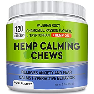 GOODGROWLIES Calming Hemp Treats for Dogs – Made in USA with Hemp Oil – Anxiety Relief – Separation Aid – Stress Relief…