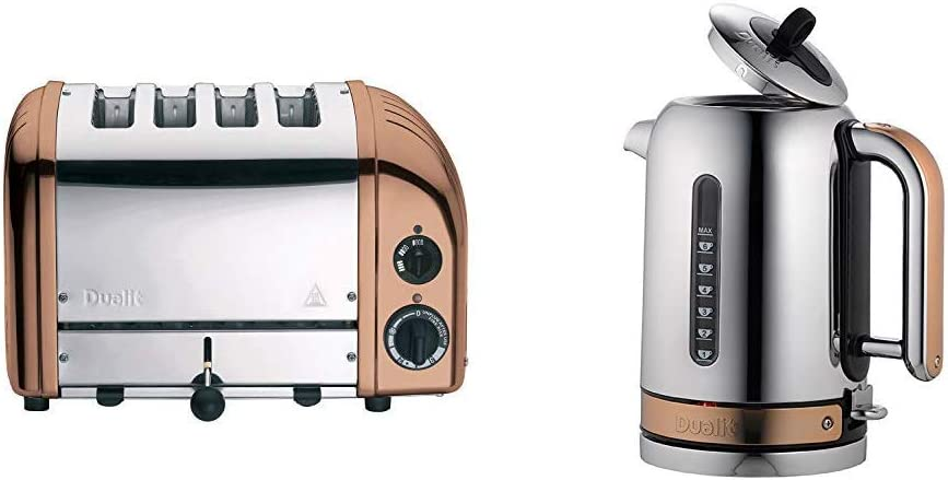 Dualit 4 Slot Classic Toaster & Classic Kettle 72820 Chrome with Copper Trim