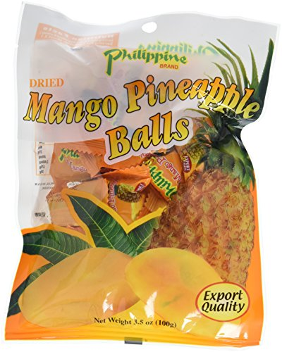 Philippine Brand Dried Mango Pineapple Balls, 3.5-Ounce Pouches (Pack of 10) ()