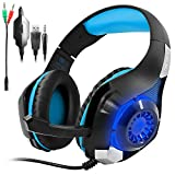 Gaming Headset for PS4 PSP Xbox one, SENHAI Led Light GM-1 Headphone with Microphone and Free Adapter Cable (Black+Blue,With Original Package, Perfect for Gift)