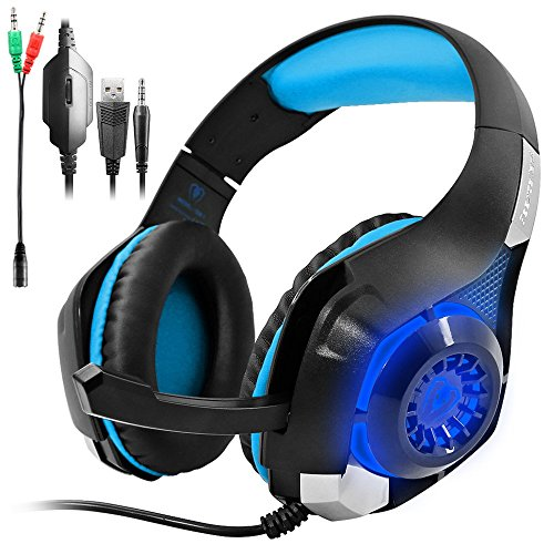 Gaming Package (Gaming Headset for PS4 PSP Xbox one, SENHAI Led Light GM-1 Headphone with Microphone and Free Adapter Cable (Black+Blue,With Original Package, Perfect for Gift))