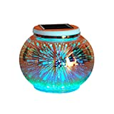 Solar Mosaic Table Lamps Yurnero Solar Powered Table Light Color Changing Crystal Glass Ball Light Indoor/Outdoor Decorations for Christmas Party Holiday Patio Table(Stars)