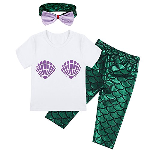 YiZYiF Little Toddler Girls Mermaid Outfits Playwear Long Sleeve Top with Shiny Fish Scale Pant Headband Set Short Sleeve 3T