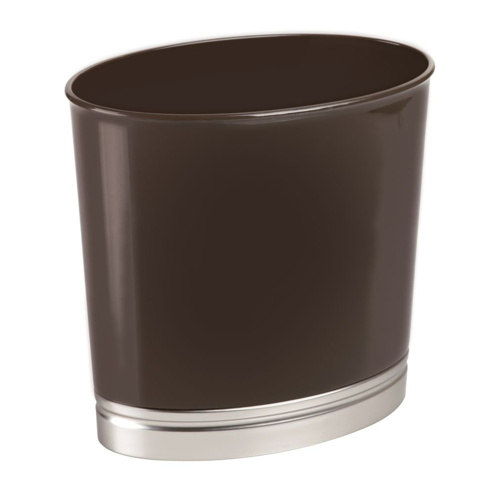 mDesign Oval Slim Decorative Plastic Small Trash Can Wastebasket, Garbage Container Bin for Bathrooms, Kitchens, Home Offices, Dorm Rooms - Dark Brown/Brushed Finish Base