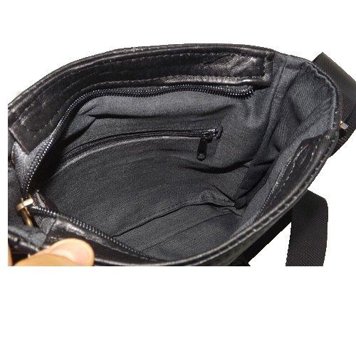 Borsello in pelle uomo artigianato italiano L18XH20XP4 cm Mod : Gio Mini black014