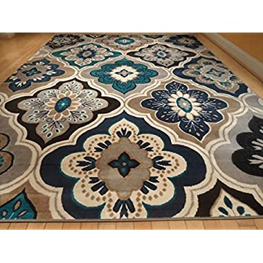 New Modern Blue Gray Brown Rug 5x8 Area Rug Casual 5x7 Area Rug Large Rugs Contemporary Carpet 5x7 Area Rugs (Medium 5x8)