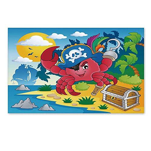 - C COABALLA Pirate Stylish Door Mat,Cute Cartoon Crab with Eye Patch Pirate Hat Hook Pegleg Deserted Island Coast Jungle Decorative for Office Home,19.6