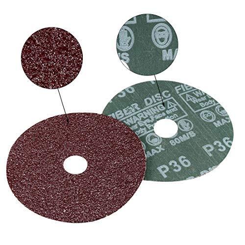 pack of 10 4x 5//8 aluminum oxide resin fiber discs center hole 36 sanding discs for grain sanding