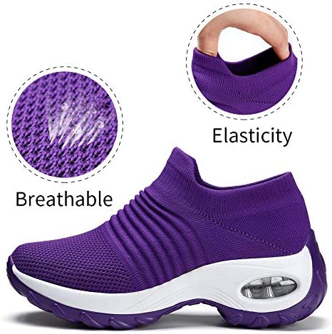 HKR Womens Walking Tennis Shoes Slip On Light Weight Mesh