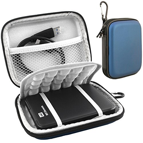 Lacdo EVA Shockproof Carrying Case for Western Digital My Passport Studio Ultra Slim Essential WD Elements SE Portable 500GB 1TB 2TB Mac USB 3.0 Portabl 2.5 inch External Hard Drive Travel Bag, Blue