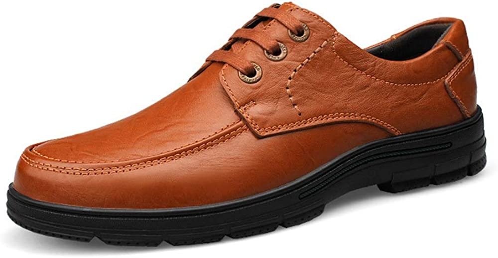 AIYAMAYA Leather Mens Hand-Grain Leather Shoes Handmade Stitching Soft Bottom Mens Leather Shoes Leather Mens Shoes