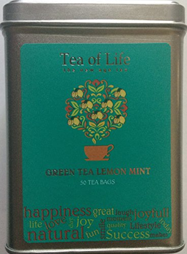 Tea of Life Square Tin - 50 Bags (Green Tea Lemon Mint)