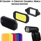 AODELAN Grid and Gel Set for Flash Gels Lighting Filter Kit for Canon, Nikon, Sony, Godox, Yongnuo Camera Flash Light