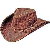 Henschel Men's Croc Print Snakeskin Inlay Hat Band Leather Cowboy