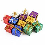 12pcs Miniature Gift Boxes Assorted Cute Shiny Foil Colorful Square Small Boxes for Christmas Tree Decoration 2.5cm/0.98inch