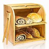 Bamboo Bread Box, Finew 2 Layer...