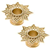 Steel Navel Body Jewelry Pair of Gold Plated Double Flared Supernova Eyelets: 1''