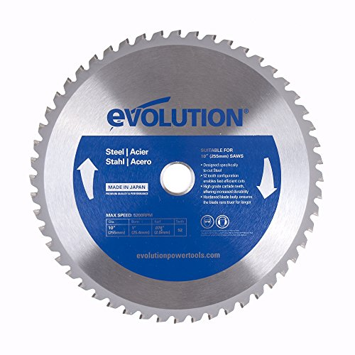 Power Tool Steel Saw Blade - Evolution Power Tools 10BLADEST Steel Cutting Saw Blade, 10-Inch x 52-Tooth