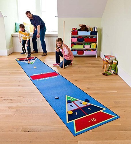 Shuffle Zone Play Carpet, Indoor Outdoor Shuffleboard Game for Kids, 2 Wooden Cues, 10 Wooden Pucks, Fun Strategy Game, 2.25'W x - Set Mini Shuffleboard Outdoor