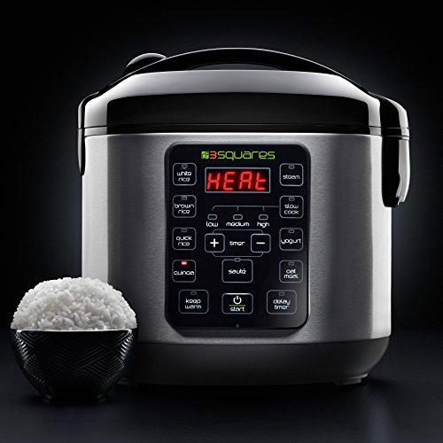 3 Squares 3RC-3050 Rice Cooker, 20 Cup/4 Qt, Stainless Steel/Black by 3 Squares (Image #1)